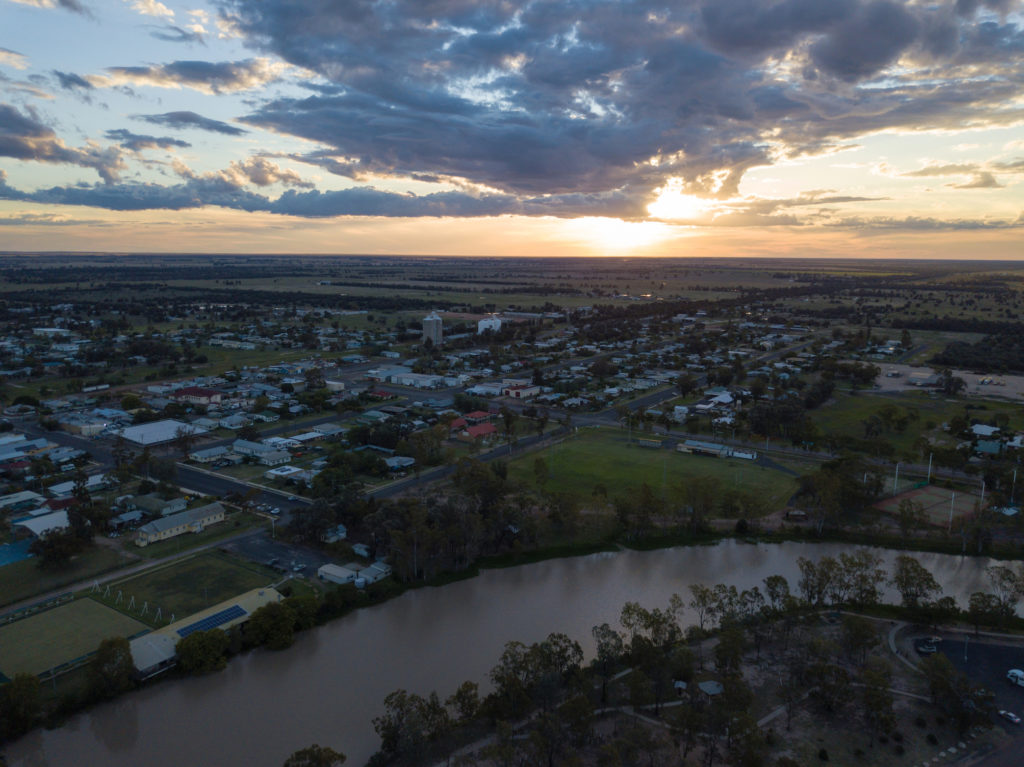 Tara aerial of town at sunset 2 by Jonah Scott